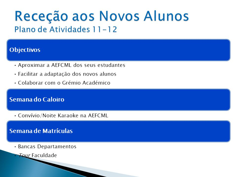 Receção aos Novos Alunos Plano de Atividades 11-12