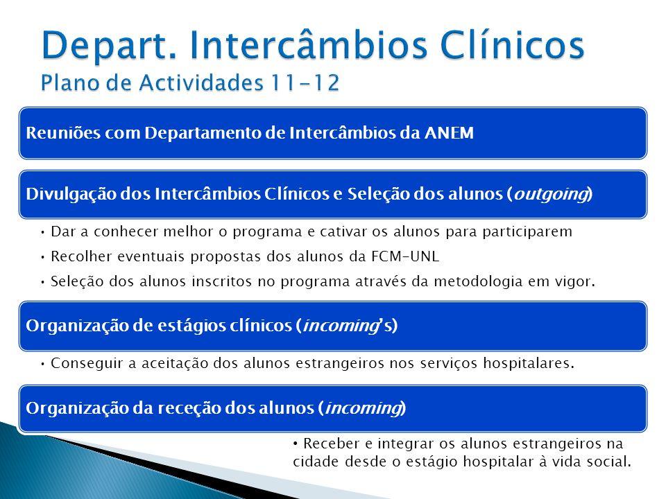 Depart. Intercâmbios Clínicos Plano de Actividades 11-12