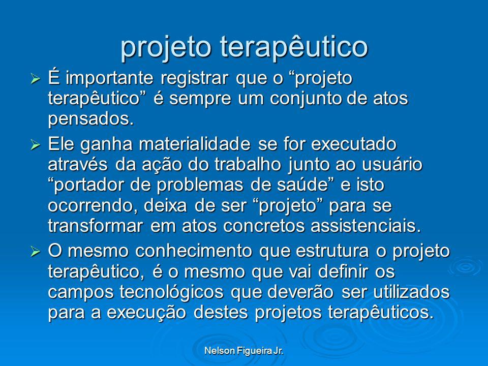 projeto terapêutico É importante registrar que o projeto terapêutico é sempre um conjunto de atos pensados.