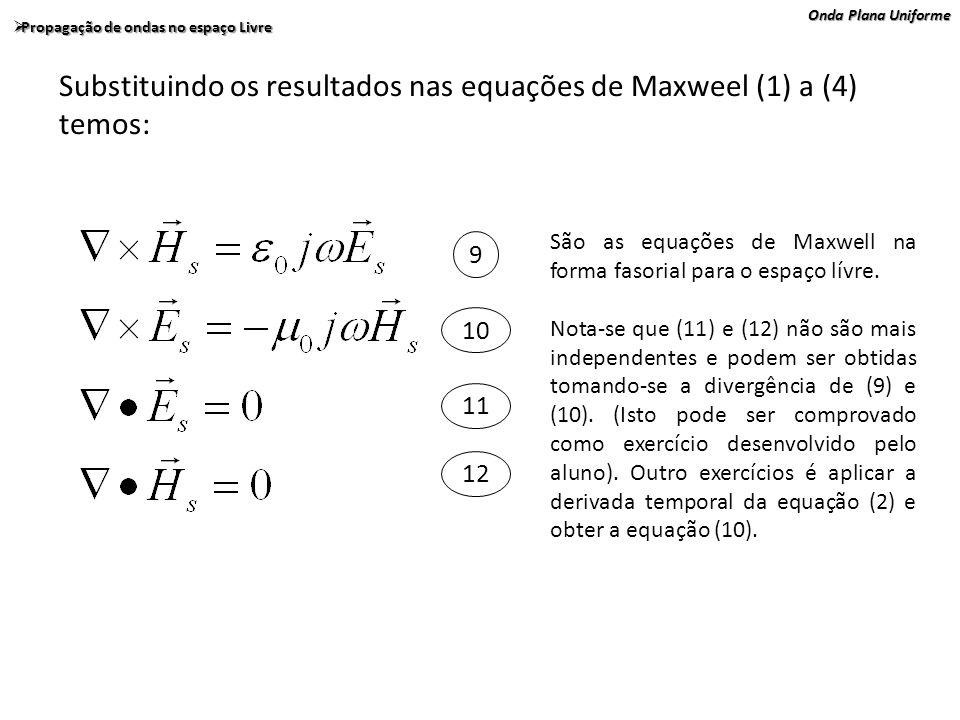 Substituindo os resultados nas equações de Maxweel (1) a (4) temos:
