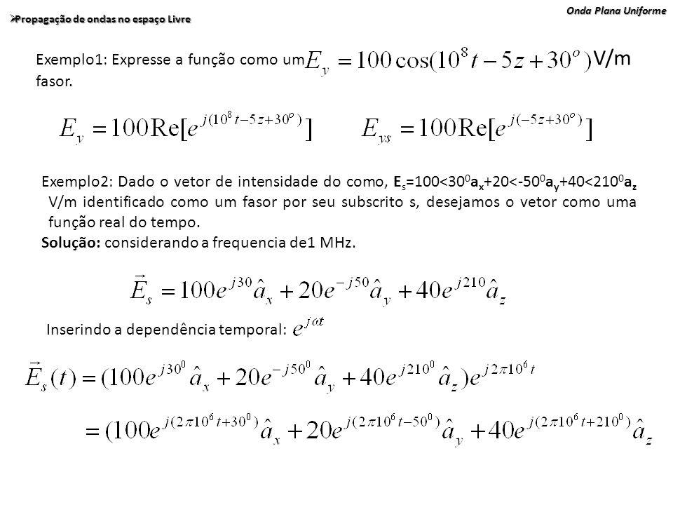 Exemplo1: Expresse a função como um V/m fasor.