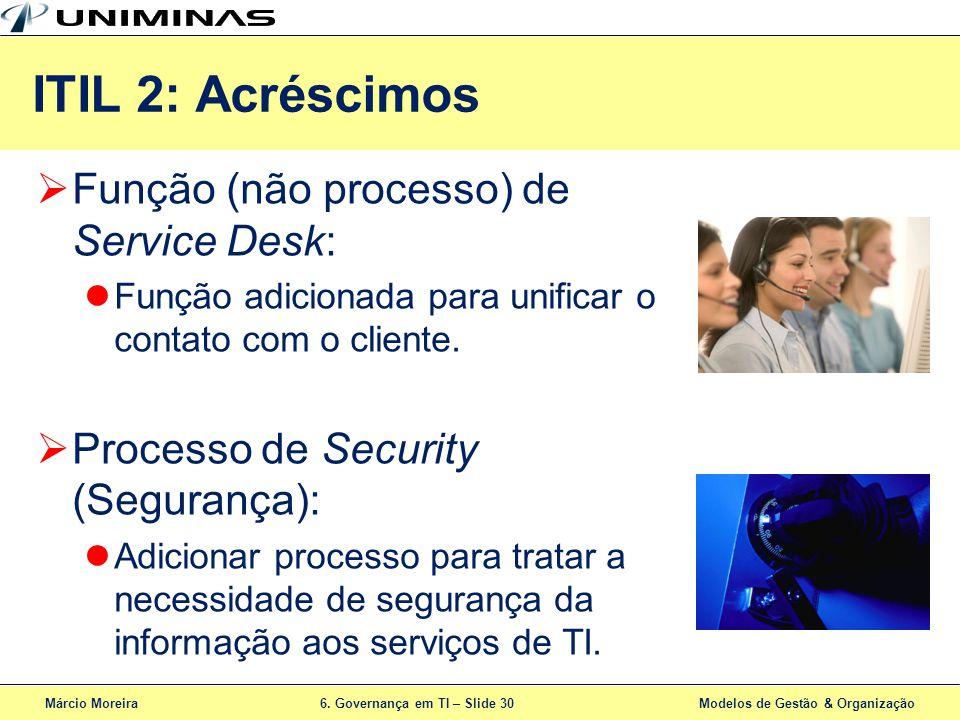 ITIL 2: Acréscimos Função (não processo) de Service Desk: