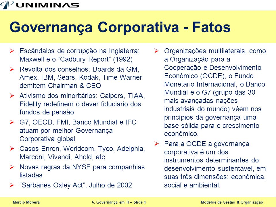 Governança Corporativa - Fatos