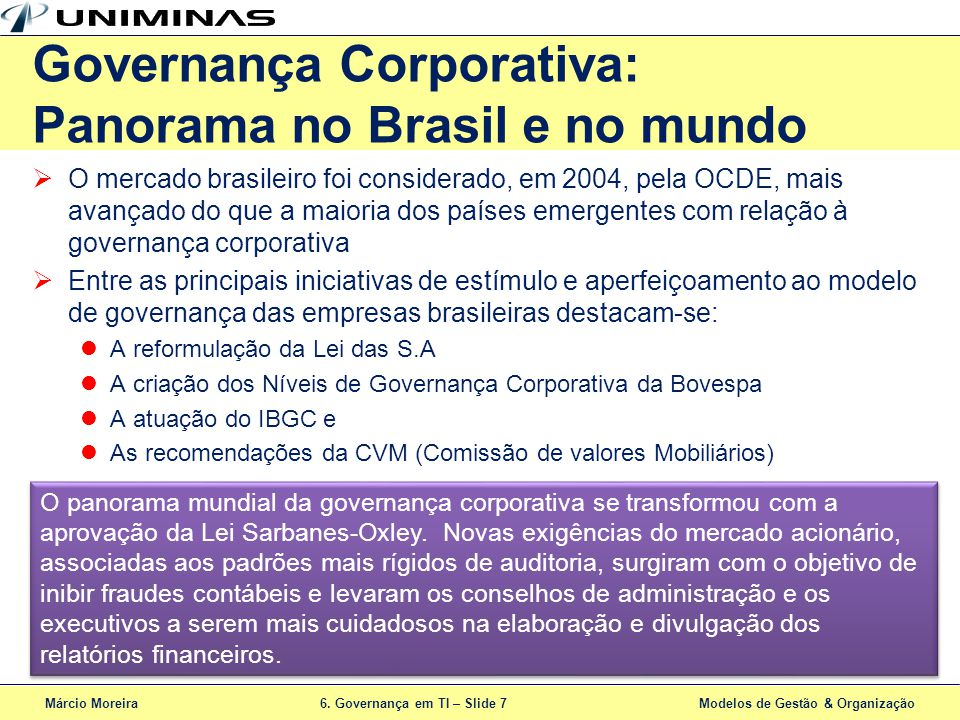 Governança Corporativa: Panorama no Brasil e no mundo