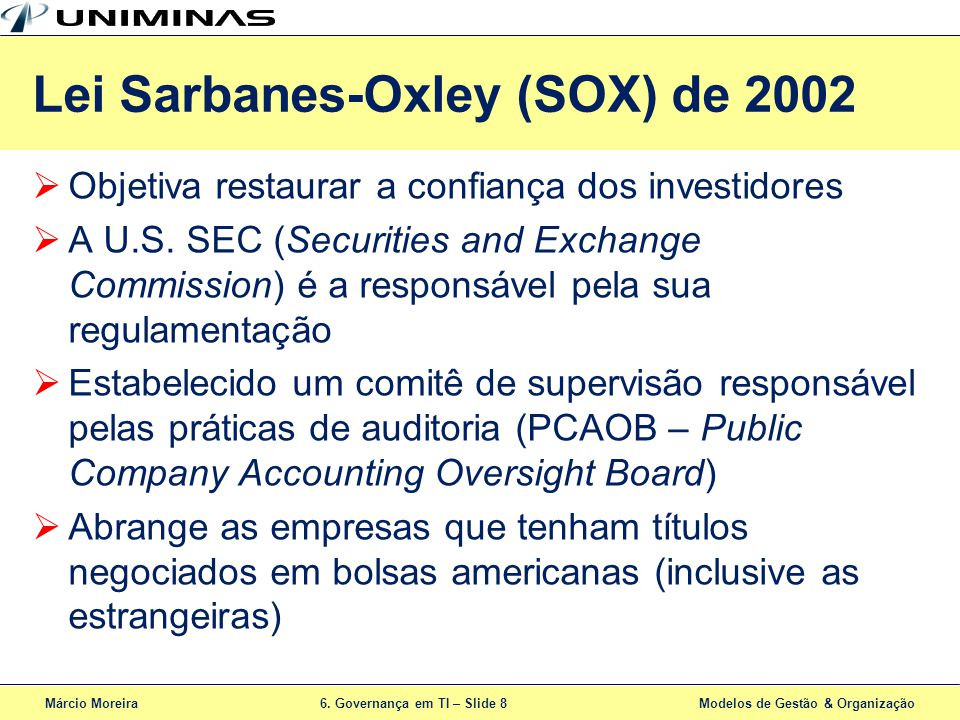 Lei Sarbanes-Oxley (SOX) de 2002