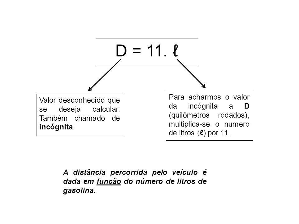 D = 11. ℓ Valor desconhecido que se deseja calcular. Também chamado de incógnita.