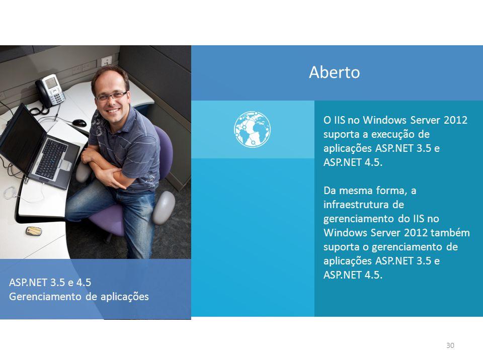 Aberto O IIS no Windows Server 2012 suporta a execução de aplicações ASP.NET 3.5 e ASP.NET 4.5.