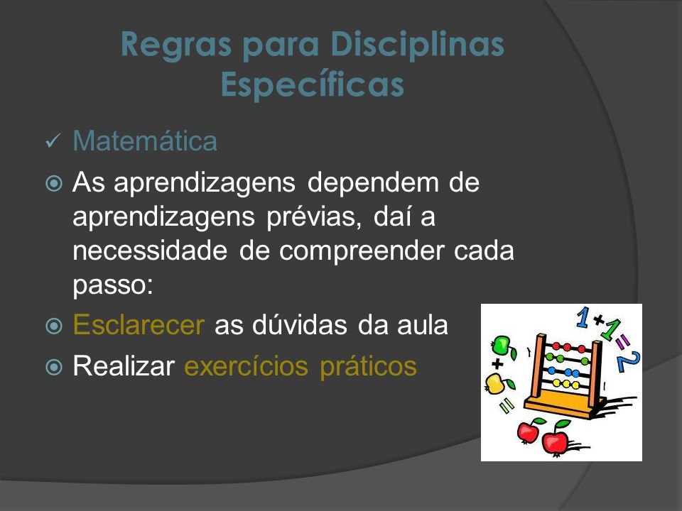 Regras para Disciplinas Específicas