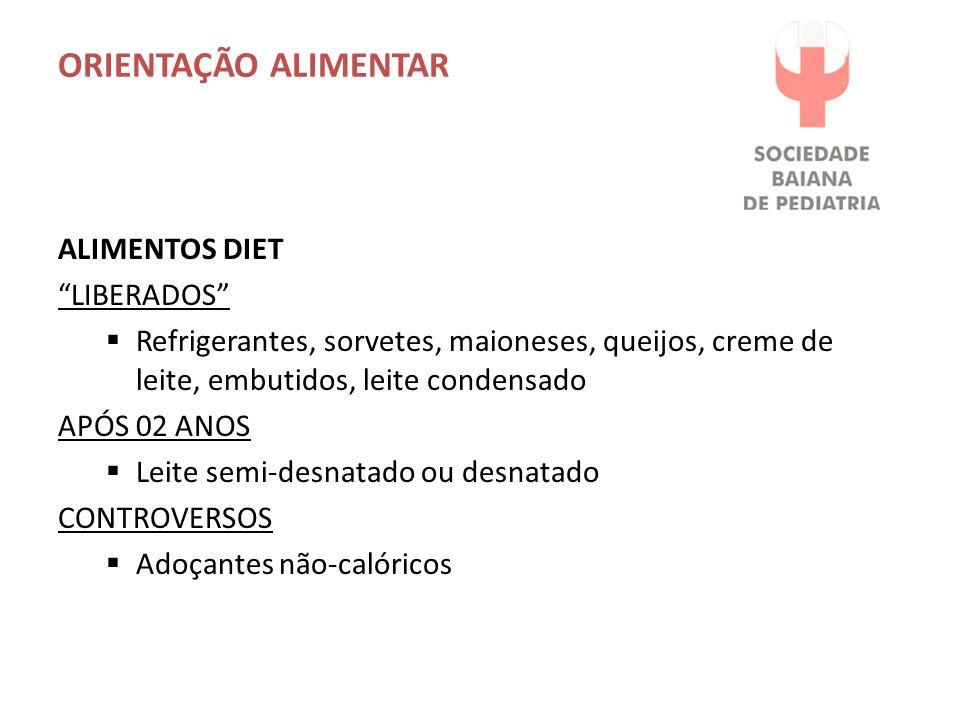 ORIENTAÇÃO ALIMENTAR ALIMENTOS DIET LIBERADOS