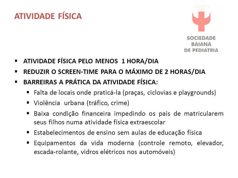 ATIVIDADE FÍSICA ATIVIDADE FÍSICA PELO MENOS 1 HORA/DIA
