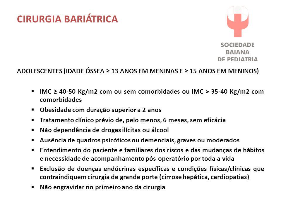 CIRURGIA BARIÁTRICA ADOLESCENTES (IDADE ÓSSEA ≥ 13 ANOS EM MENINAS E ≥ 15 ANOS EM MENINOS)