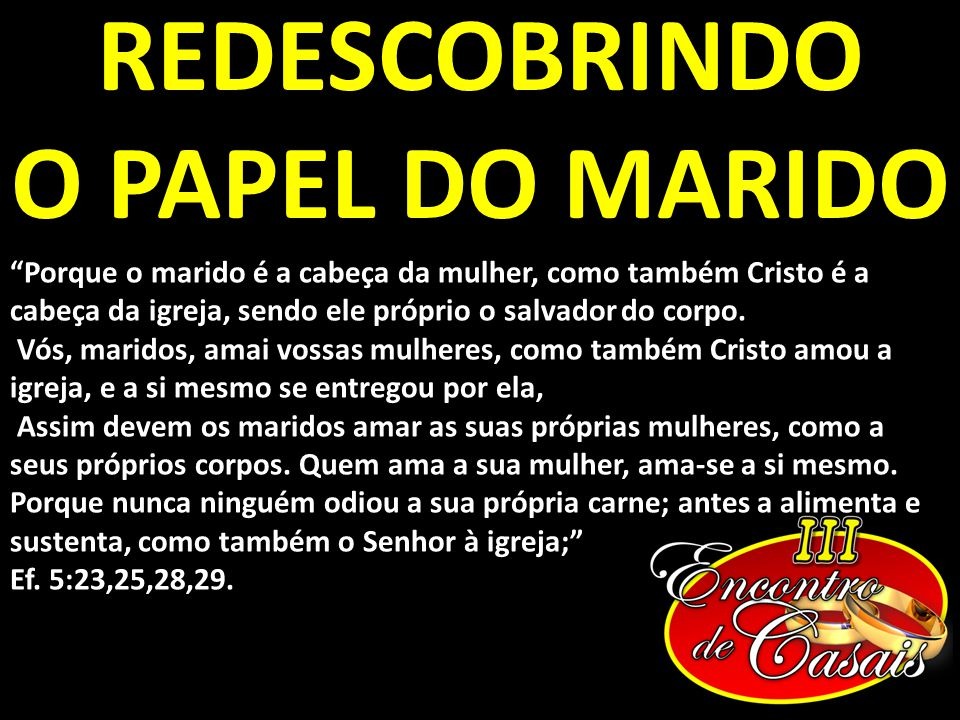 REDESCOBRINDO O PAPEL DO MARIDO