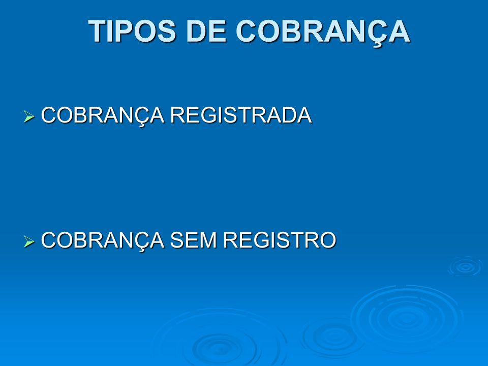 TIPOS DE COBRANÇA COBRANÇA REGISTRADA COBRANÇA SEM REGISTRO