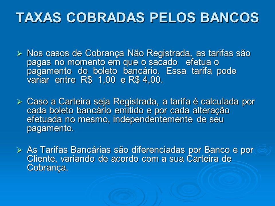 TAXAS COBRADAS PELOS BANCOS