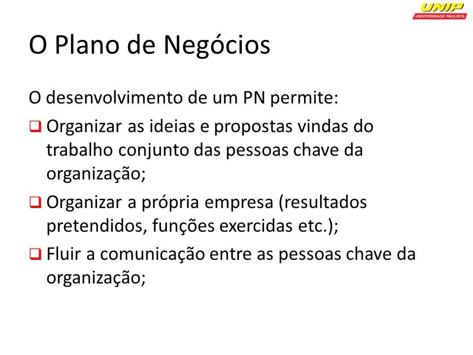 O Plano de Negócios O desenvolvimento de um PN permite: