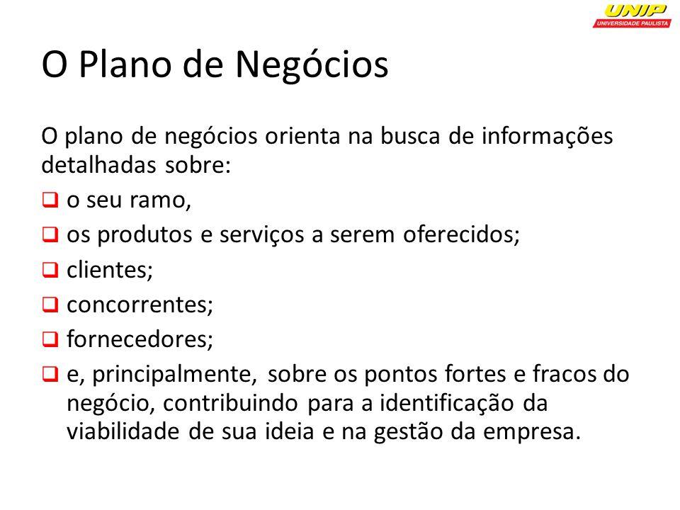 O Plano de Negócios O plano de negócios orienta na busca de informações detalhadas sobre: o seu ramo,