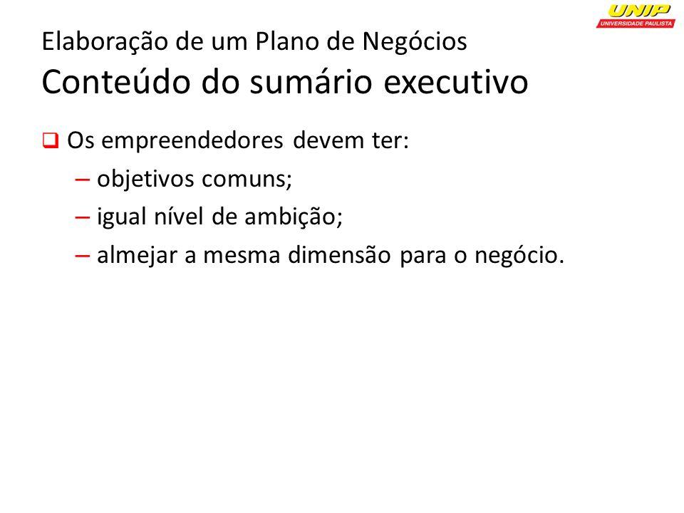 Elaboração de um Plano de Negócios Conteúdo do sumário executivo