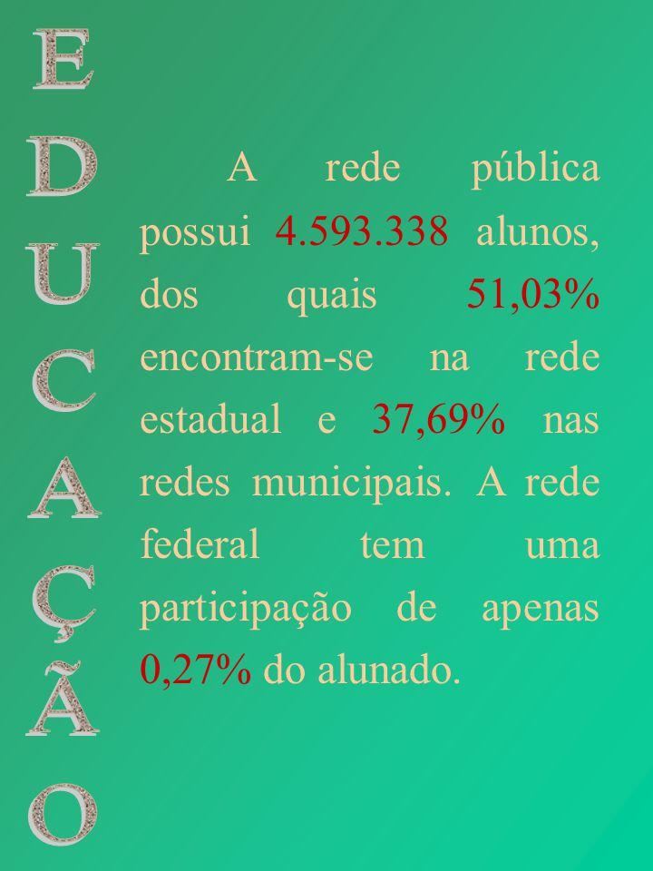 A rede pública possui 4.593.338 alunos, dos quais 51,03% encontram-se na rede estadual e 37,69% nas redes municipais. A rede federal tem uma participação de apenas 0,27% do alunado.