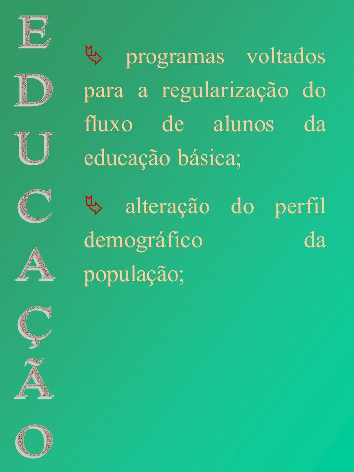  programas voltados para a regularização do fluxo de alunos da educação básica;