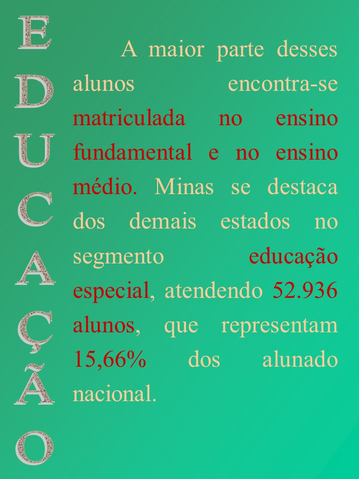 A maior parte desses alunos encontra-se matriculada no ensino fundamental e no ensino médio. Minas se destaca dos demais estados no segmento educação especial, atendendo 52.936 alunos, que representam 15,66% dos alunado nacional.