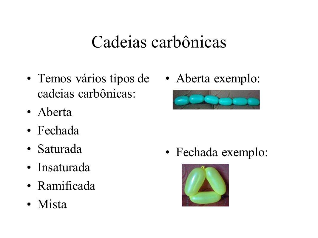 Cadeias carbônicas Temos vários tipos de cadeias carbônicas: Aberta