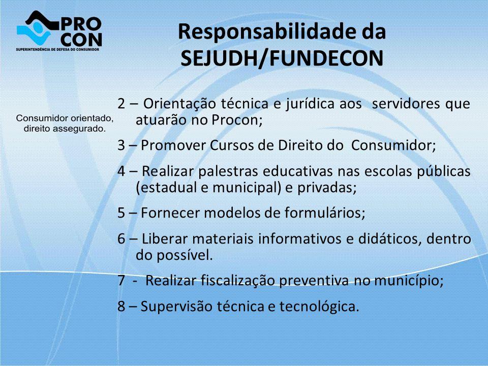Responsabilidade da SEJUDH/FUNDECON