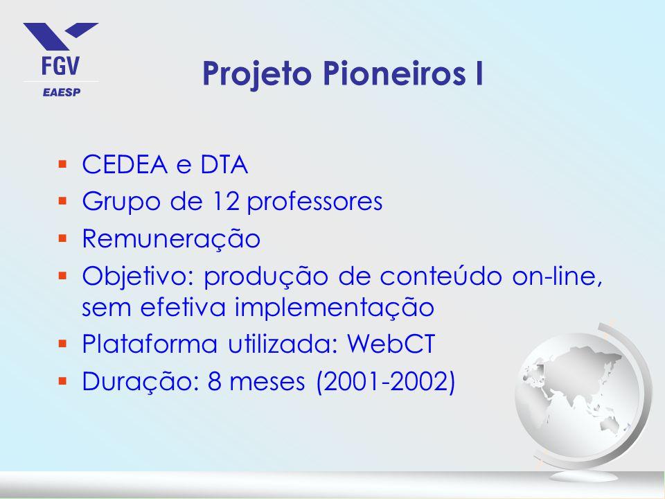 Projeto Pioneiros I CEDEA e DTA Grupo de 12 professores Remuneração