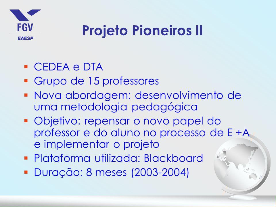Projeto Pioneiros II CEDEA e DTA Grupo de 15 professores