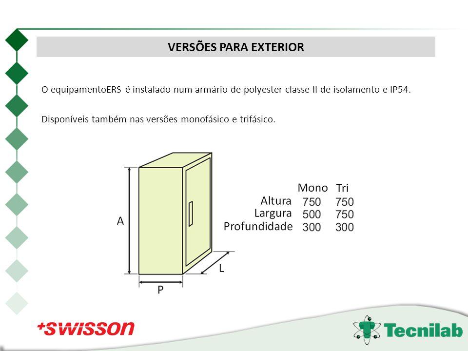 VERSÕES PARA EXTERIOR O equipamentoERS é instalado num armário de polyester classe II de isolamento e IP54.