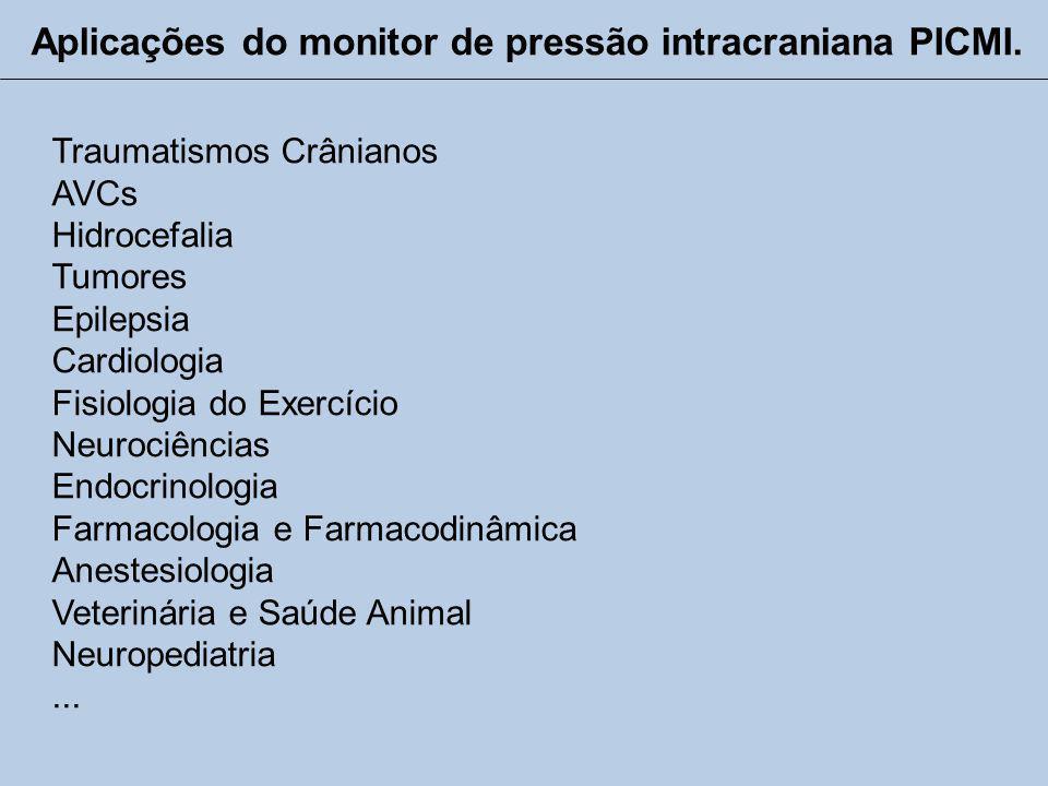 Aplicações do monitor de pressão intracraniana PICMI.
