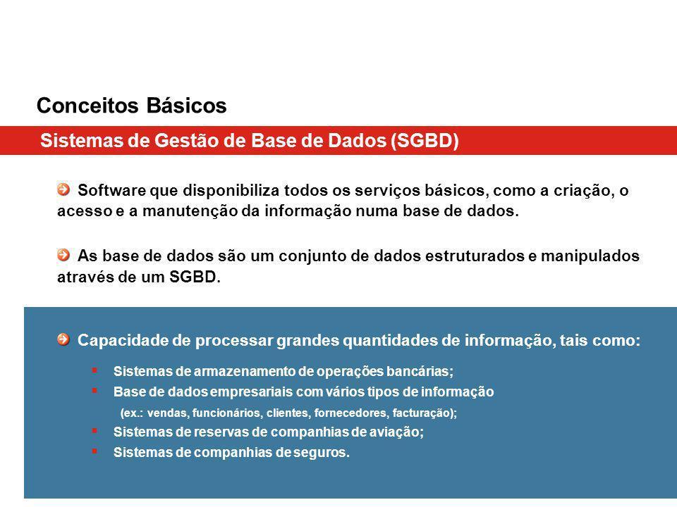 Conceitos Básicos Sistemas de Gestão de Base de Dados (SGBD)