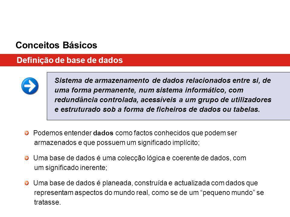 Conceitos Básicos Definição de base de dados