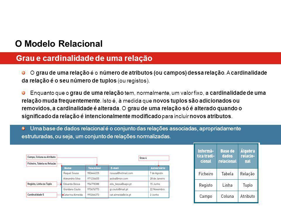 O Modelo Relacional Grau e cardinalidade de uma relação