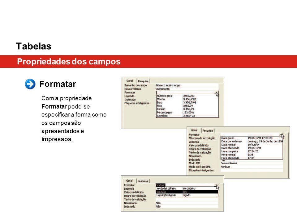 Tabelas Propriedades dos campos Formatar