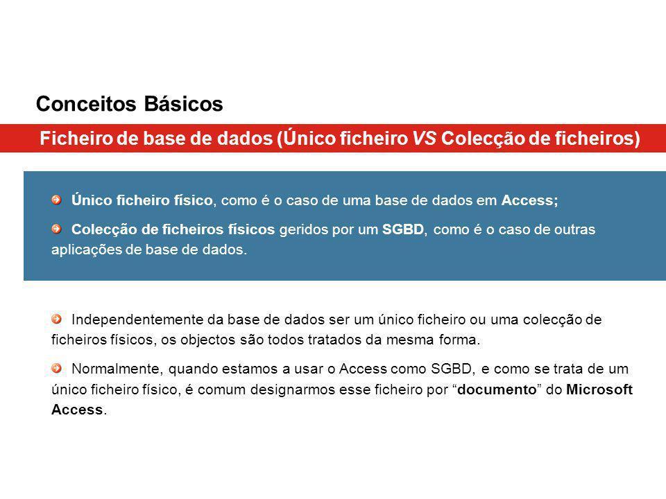 Conceitos Básicos Ficheiro de base de dados (Único ficheiro VS Colecção de ficheiros)