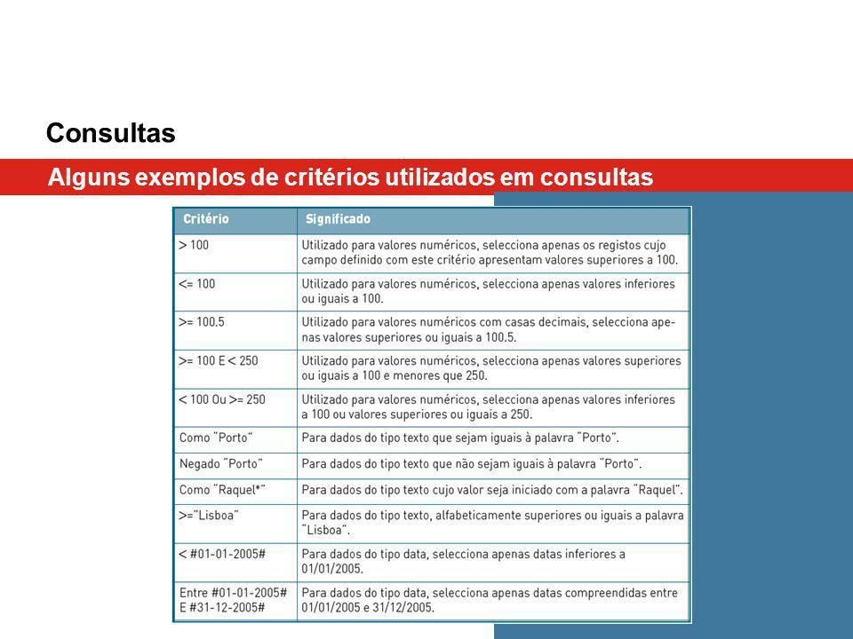 Consultas Alguns exemplos de critérios utilizados em consultas
