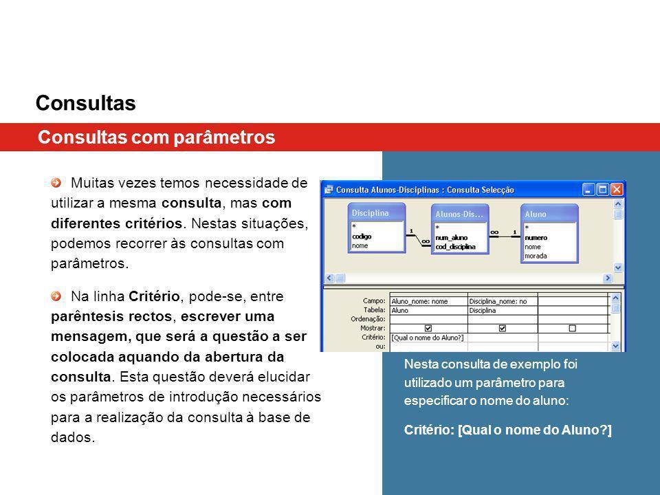 Consultas Consultas com parâmetros