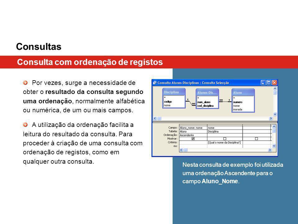 Consultas Consulta com ordenação de registos