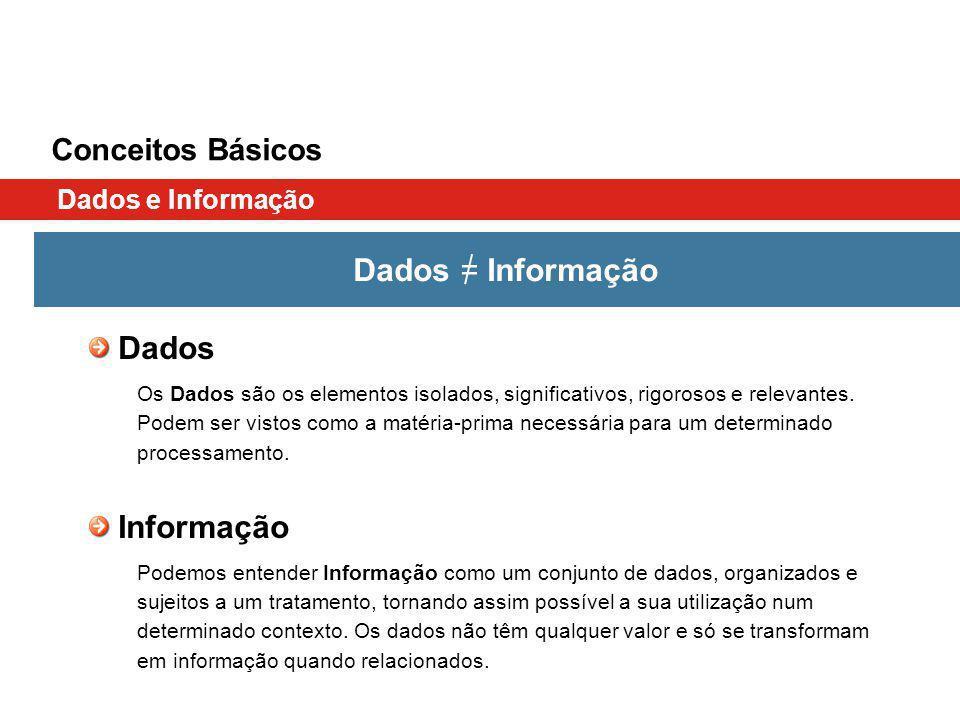 Dados = Informação Dados Informação Conceitos Básicos