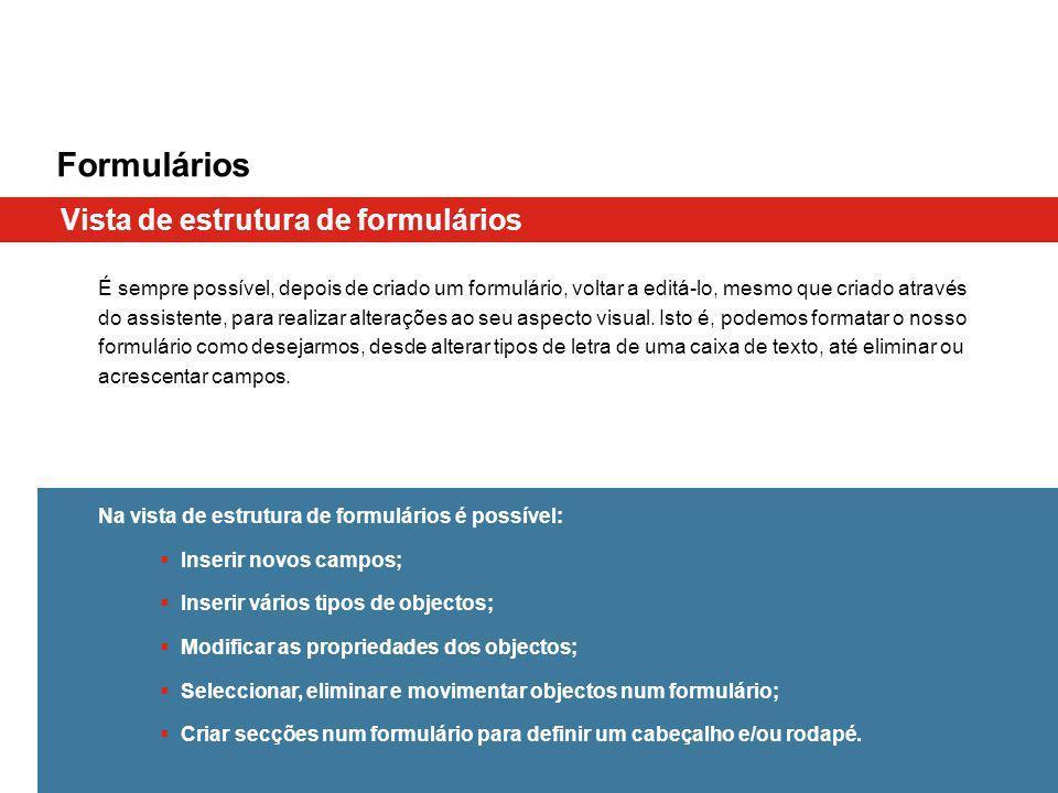 Formulários Vista de estrutura de formulários