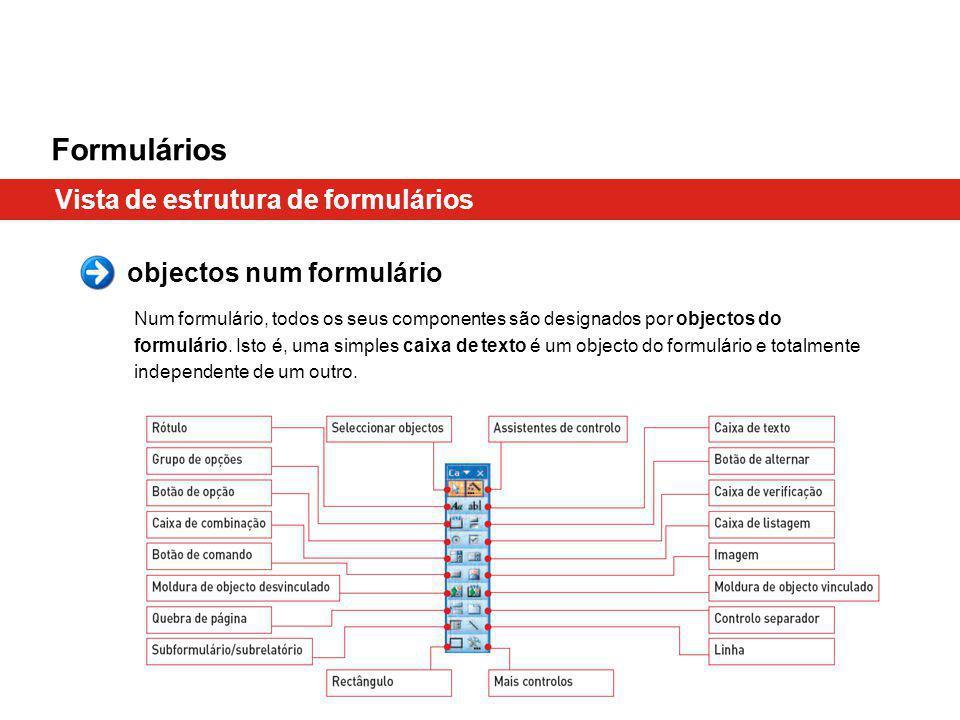 Formulários Vista de estrutura de formulários objectos num formulário