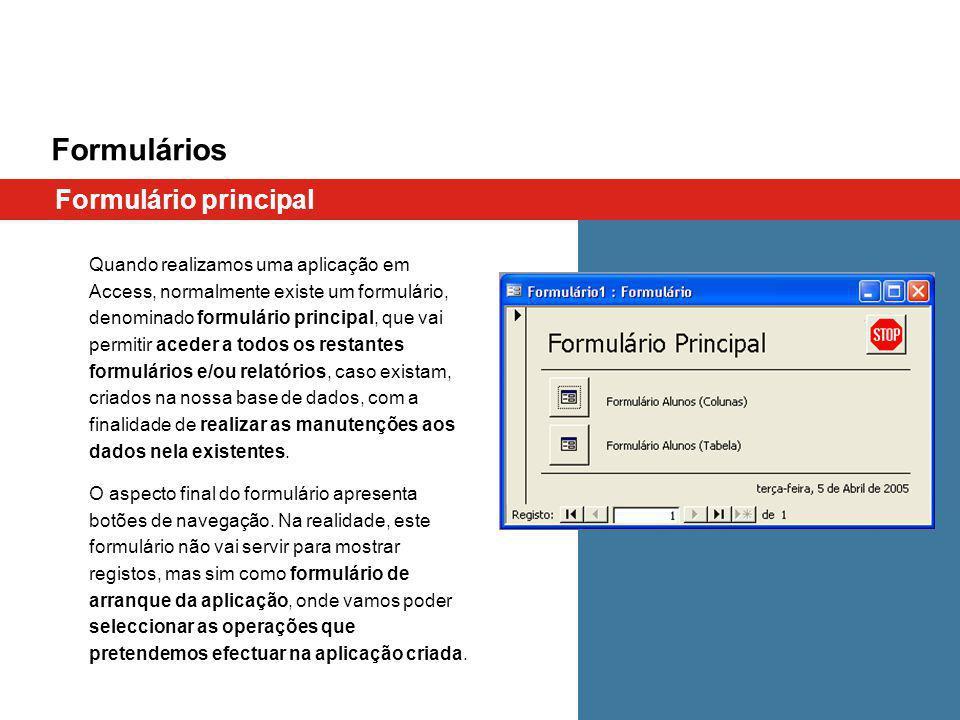 Formulários Formulário principal