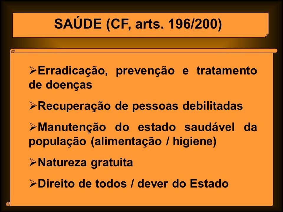 SAÚDE (CF, arts. 196/200) Erradicação, prevenção e tratamento de doenças. Recuperação de pessoas debilitadas.