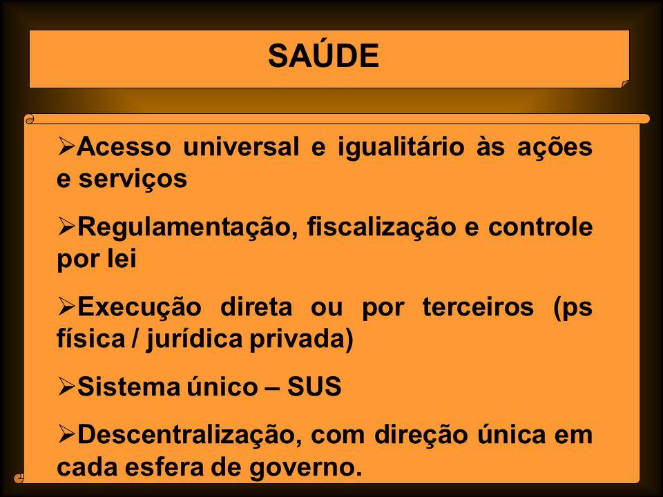 SAÚDE Acesso universal e igualitário às ações e serviços