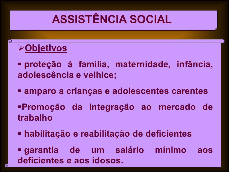 ASSISTÊNCIA SOCIAL Objetivos