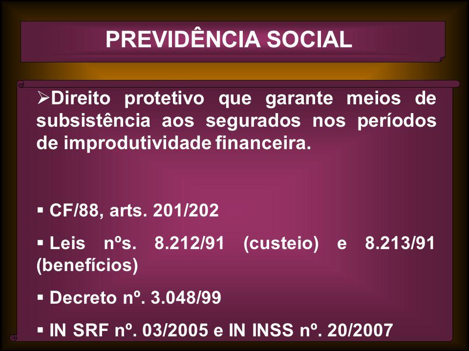 PREVIDÊNCIA SOCIAL Direito protetivo que garante meios de subsistência aos segurados nos períodos de improdutividade financeira.