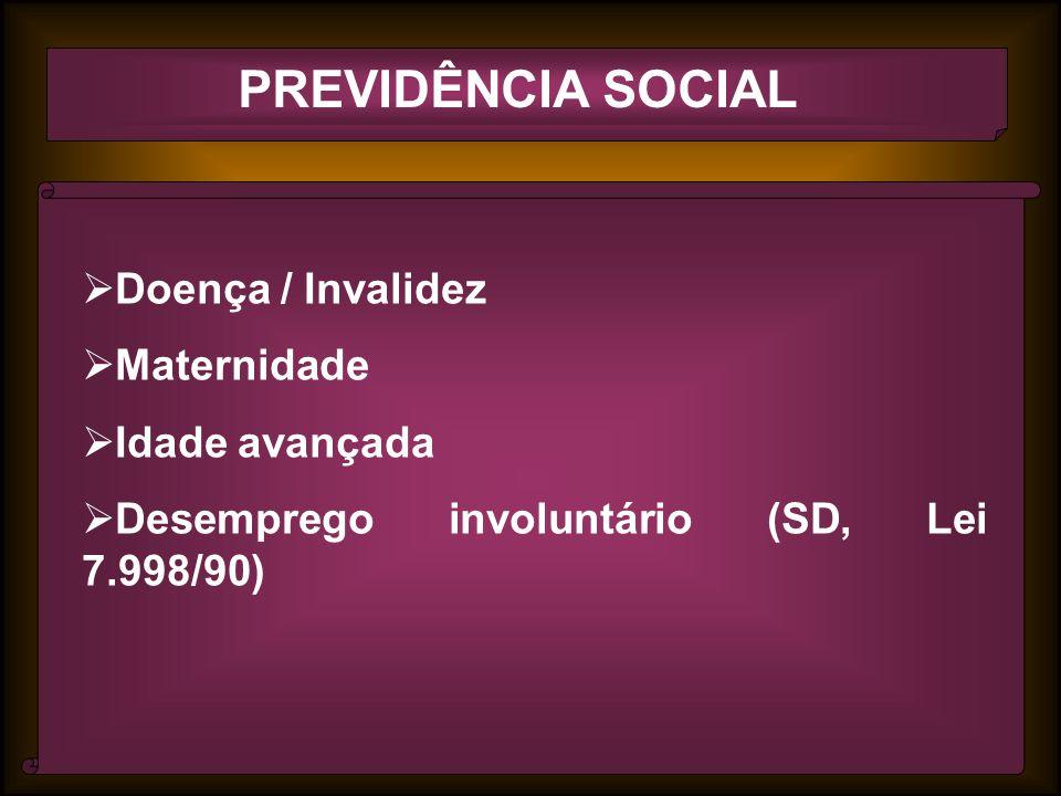 PREVIDÊNCIA SOCIAL Doença / Invalidez Maternidade Idade avançada