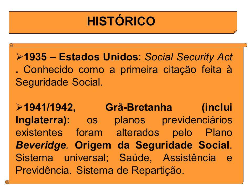 HISTÓRICO 1935 – Estados Unidos: Social Security Act . Conhecido como a primeira citação feita à Seguridade Social.