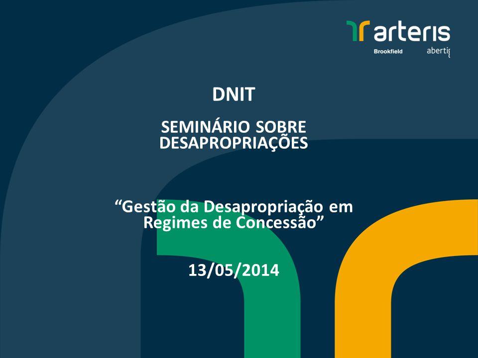 DNIT SEMINÁRIO SOBRE DESAPROPRIAÇÕES Gestão da Desapropriação em Regimes de Concessão 13/05/2014