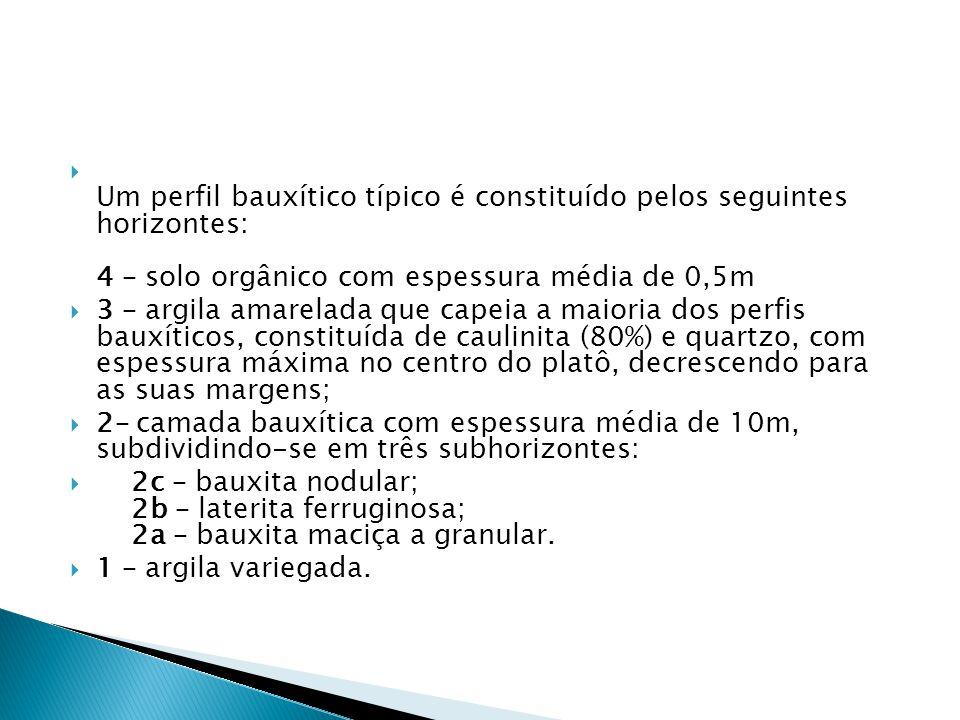 Um perfil bauxítico típico é constituído pelos seguintes horizontes: 4 – solo orgânico com espessura média de 0,5m